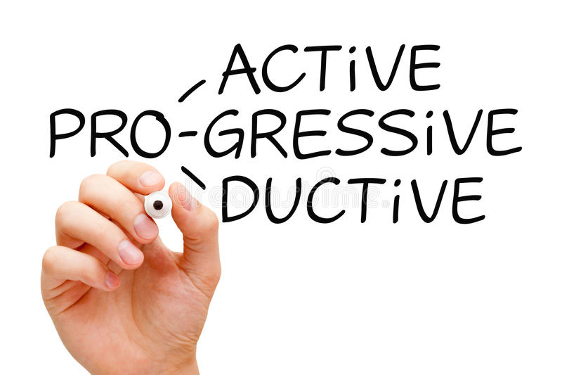 Pro-actieve Progressieve Productief stock afbeelding