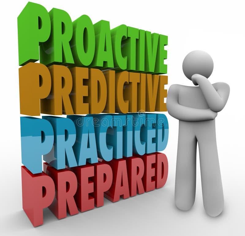 Pro-actieve Vooruitlopende Uitgeoefende Voorbereide Denker vector illustratie
