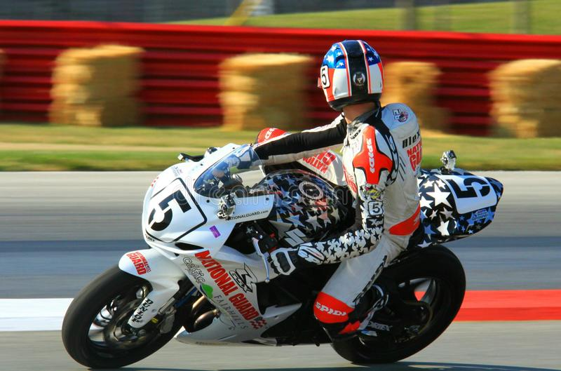 Pro bike racing. Motorcycle races at the race track event stock images