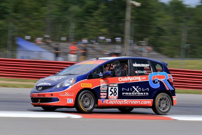 Pro carro de corridas apto de Honda no curso imagens de stock royalty free