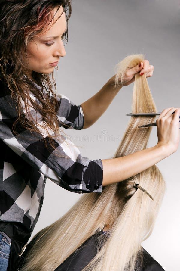 Pro coiffeur travaillant avec le client photos libres de droits