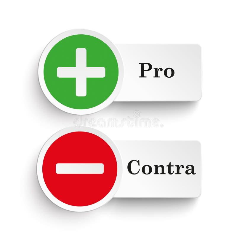 Pro contra ícones redondos ilustração do vetor. Ilustração