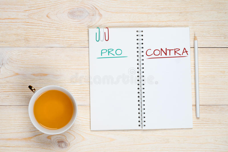 Pro contra concept royalty free stock photography