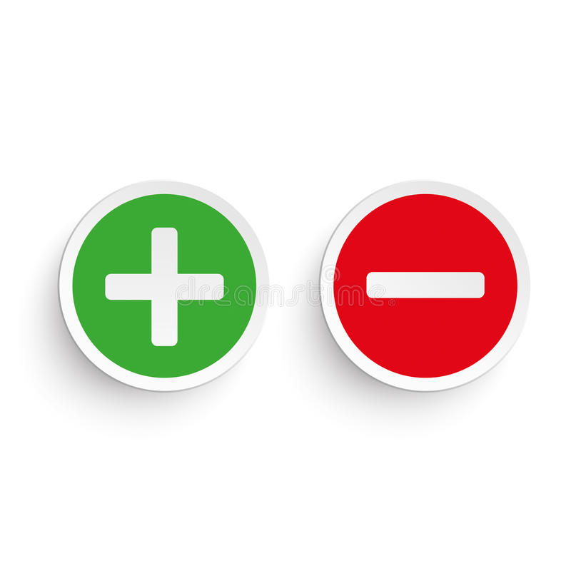 Pro Contra. Pro and contra round icons on the white background stock illustration