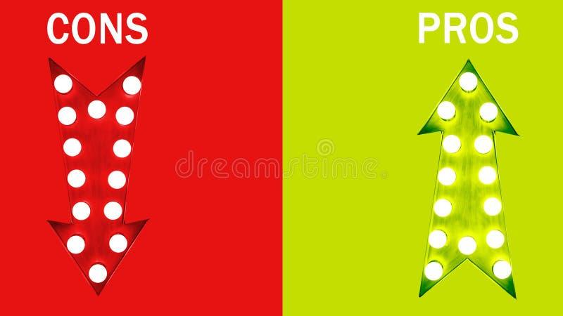 Pro - e - contro: rosso giù e verde sulle retro frecce d'annata illuminate con le lampadine royalty illustrazione gratis