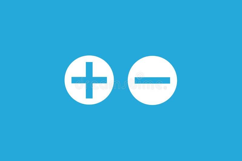 Pro - e - segno negativo positivo di analisi di valutazione di contro sui bottoni bianchi del cerchio nel fondo vuoto blu semplic illustrazione vettoriale
