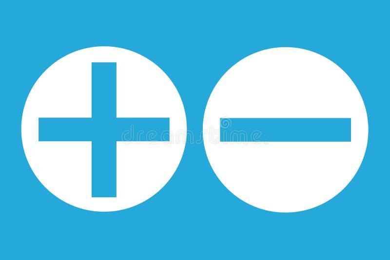 Pro - e - segno negativo positivo di analisi di valutazione di contro sui grandi bottoni bianchi del cerchio nel fondo vuoto blu royalty illustrazione gratis