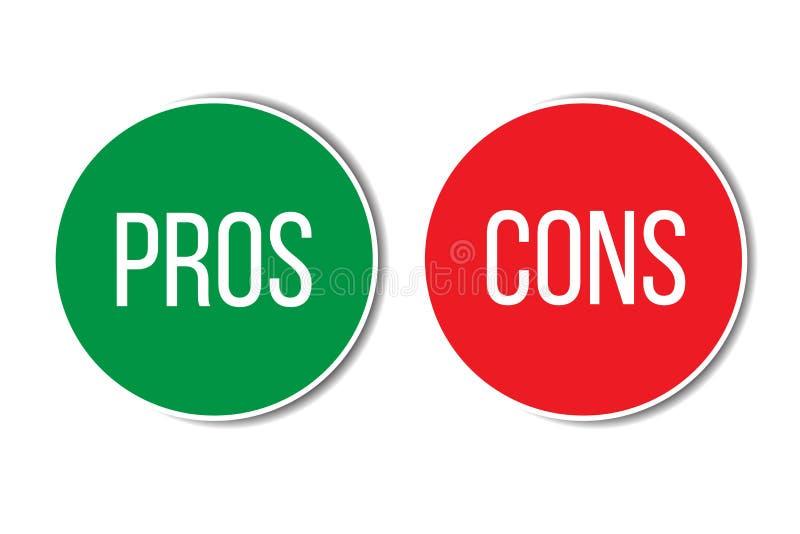 Pro - e - testo sinistro rosso di parola di destra di verde di analisi di valutazione di contro sui bottoni nel fondo bianco vuot illustrazione di stock