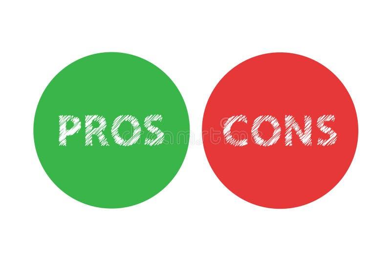 Pro - e - testo sinistro rosso di parola di destra di verde di analisi di valutazione di contro sui cerchi nel fondo trasparente  illustrazione vettoriale