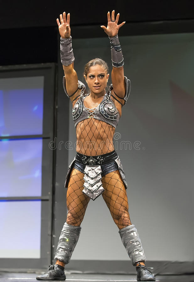 Pro Fitness Star in Warrior Costume stock photos