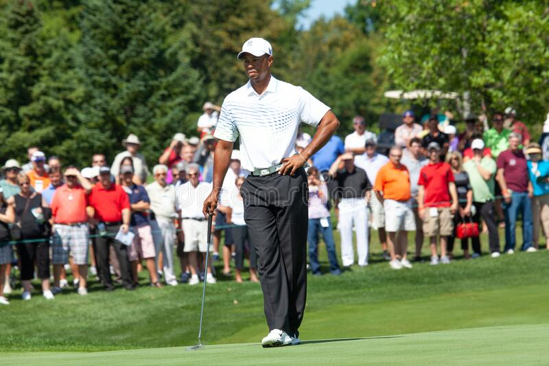 Pro golfer Tiger Woods. Waiting his turn to putt on the gree at Atunyote golf course at the Turning Stone Resorts and Casino in Verona NY royalty free stock image