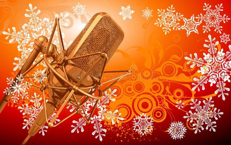 Pro microfone & flocos de neve ilustração stock
