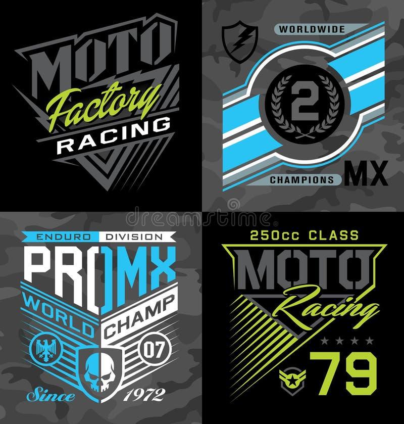 Pro motocross emballant des graphiques de T-shirt d'emblème illustration stock