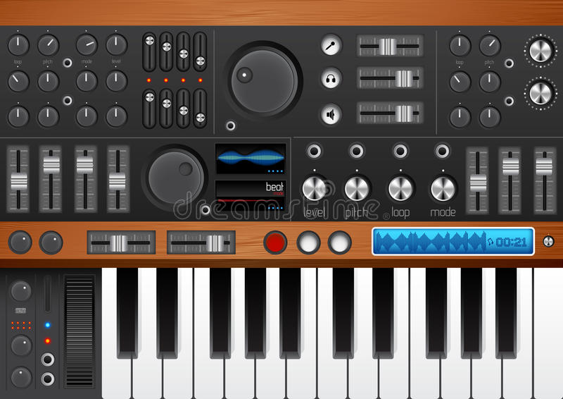 Pro Music Synthesizer/ Interface. EPS. High Quality with lots of detail for your musical design needs stock illustration