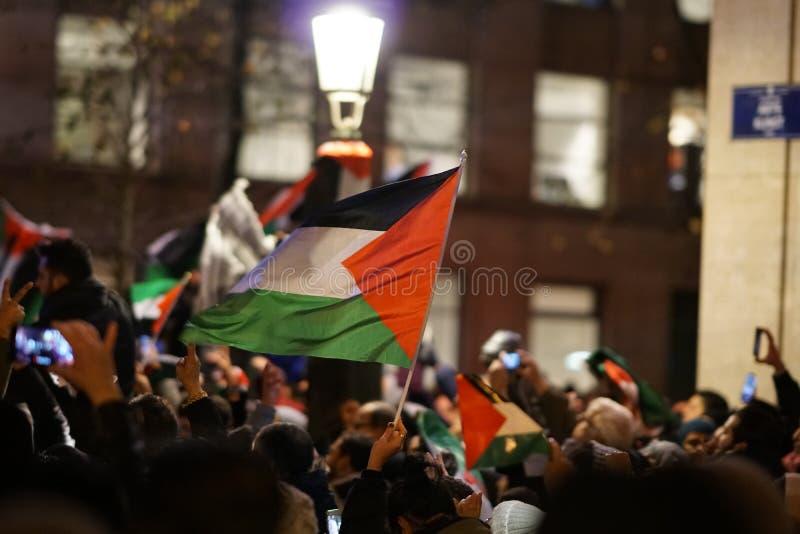 Pro-Palestijns protest na U S verklaring als het erkennen van de stad van Jeruzalem als de hoofdstad van Israël stock afbeelding