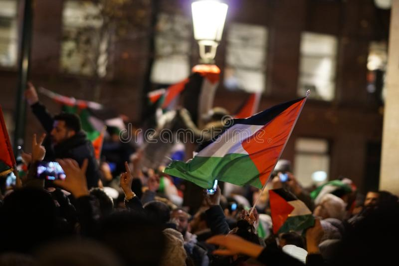 Pro-Palestinian protest after U.S. declaration as recognising the city of Jerusalem as the capital of Israel. Brussels, Belgium - December 8, 2017: Pro stock images