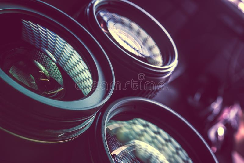 Pro Photography Lenses. Closeup Photo. Nano Coating Lens Glasses. Photography Technology royalty free stock images