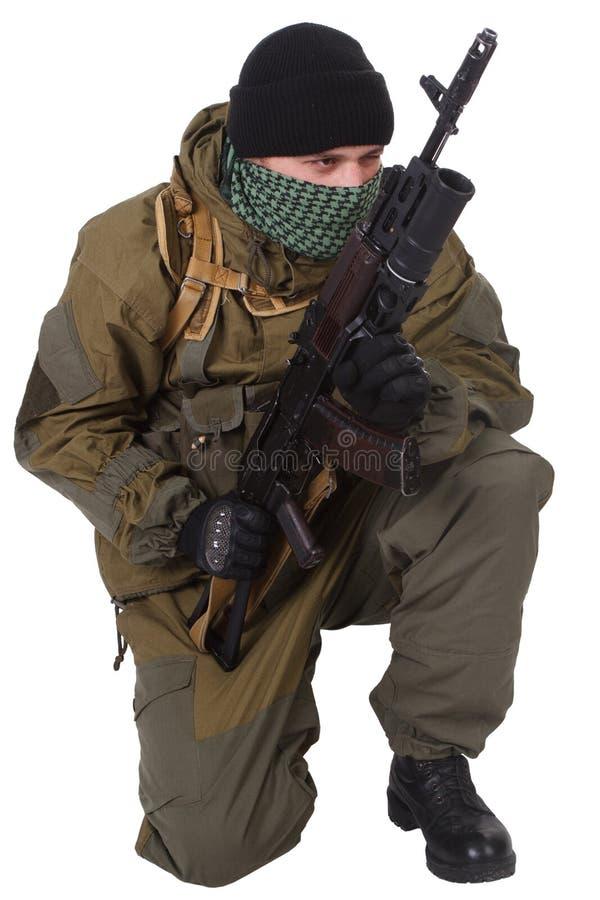 Pro-Russian militiaman with kalashnikov ak-47 rifle with under-barrel grenade launcher. Pro-Russian militan with kalashnikov ak-47 rifle with under-barrel stock image