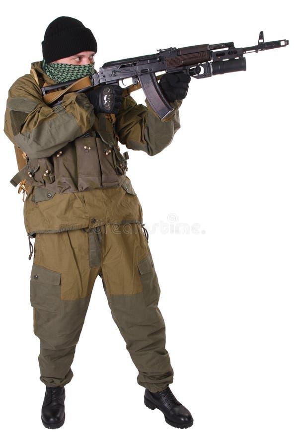 Pro-Russian militiaman with kalashnikov ak-47 rifle with under-barrel grenade launcher. Pro-Russian militan with kalashnikov ak-47 rifle with under-barrel stock images