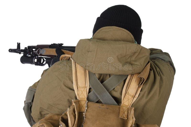 Pro-Russian militiaman with kalashnikov ak-47 rifle with under-barrel grenade launcher. Pro-Russian militan with kalashnikov ak-47 rifle with under-barrel stock photo