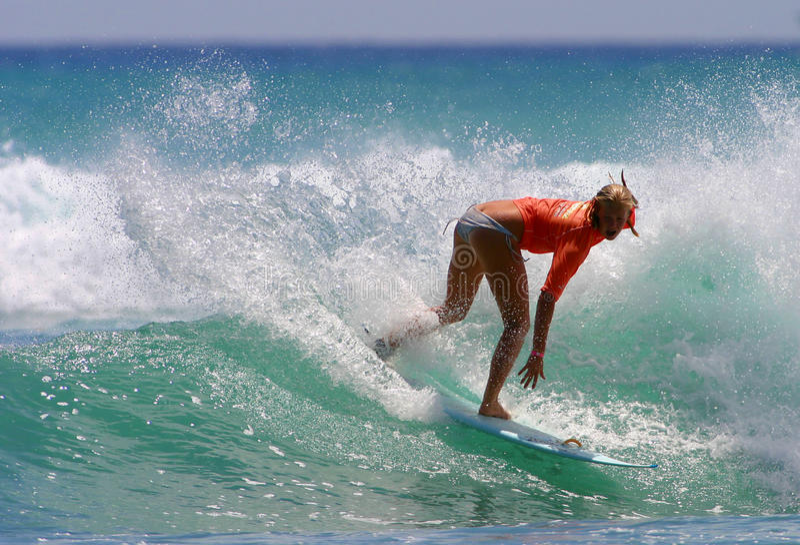 Pro Surfer Bethany Hamilton Surfing in Waikiki royalty free stock photos