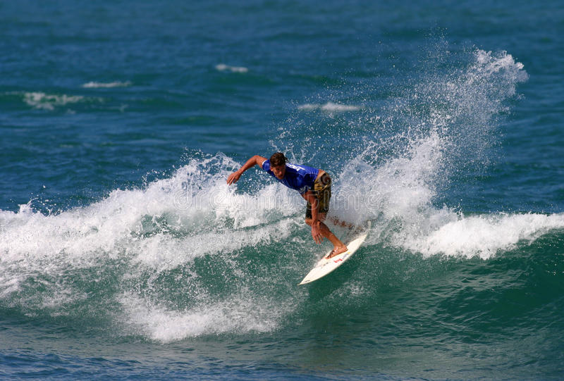 Pro Surfer Bruce Irons in Surfing Competition royalty free stock photography