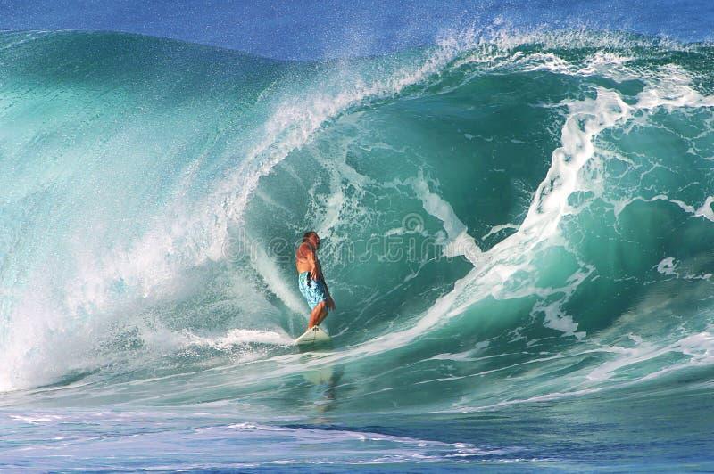 Pro Surfer Kalani Chapman Surfing at Pipeline stock photo