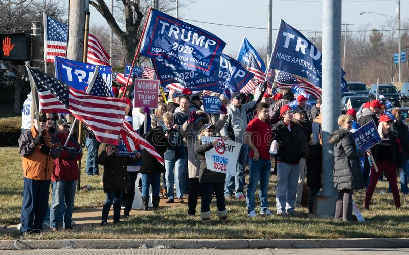 Pro-Trump Rally at Route 30 Lincoln Highway and Lagrange Rd Route 45. Frankfort, Illinois stock photos