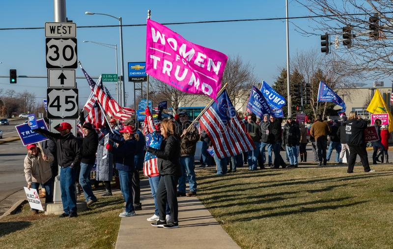 Pro-Trump Rally at Route 30 Lincoln Highway and Lagrange Rd Route 45. Frankfort, Illinois stock image