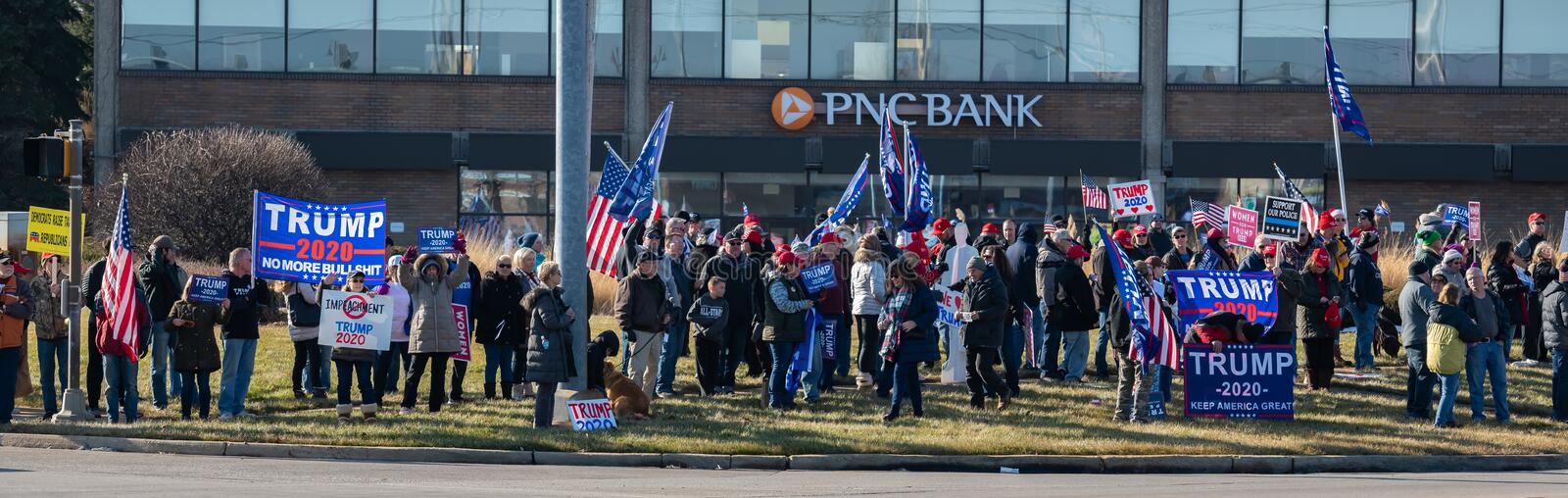 Pro-Trump Rally at Route 30 Lincoln Highway and Lagrange Rd Route 45. Frankfort, Illinois royalty free stock photos