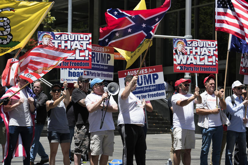 Pro Trump supporters, Sydney - Australia royalty free stock photo