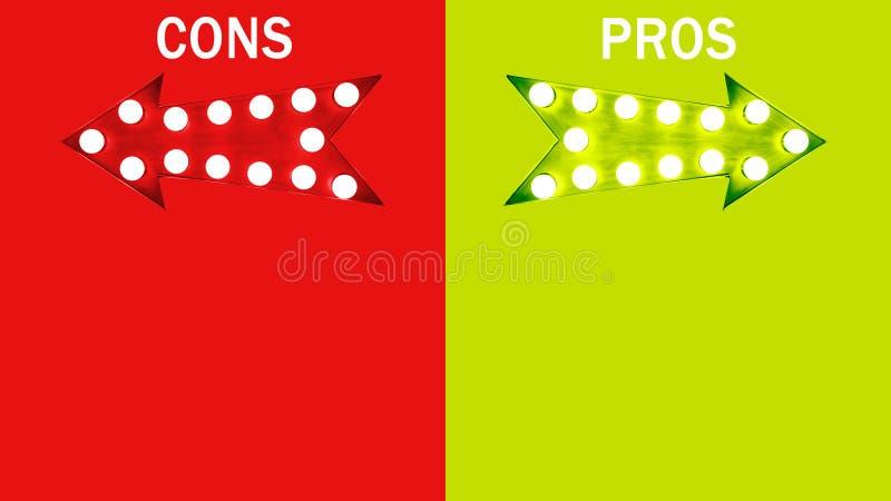 Pro - und - Betrug: rote Retro- Pfeile der linken und grünen rechten Weinlese belichtet mit Glühlampen Konzeptbild fördert Nachte lizenzfreie abbildung