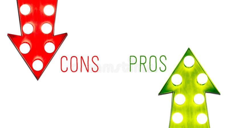 Pro - und - der rote Betrug und Retro- Pfeile der grünen hohen unten Linksrechtsweinlese belichtete Glühlampeweißhintergrund vektor abbildung