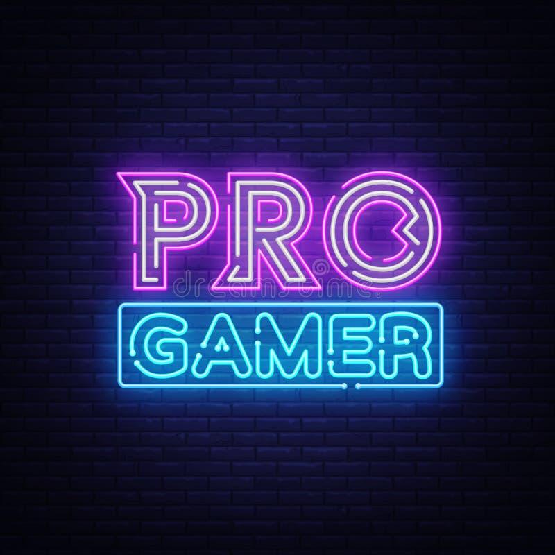 Pro vecteur d'enseigne au néon de Gamer Calibre au néon de conception de jeu, bannière légère, enseigne de nuit, la publicité lum illustration de vecteur