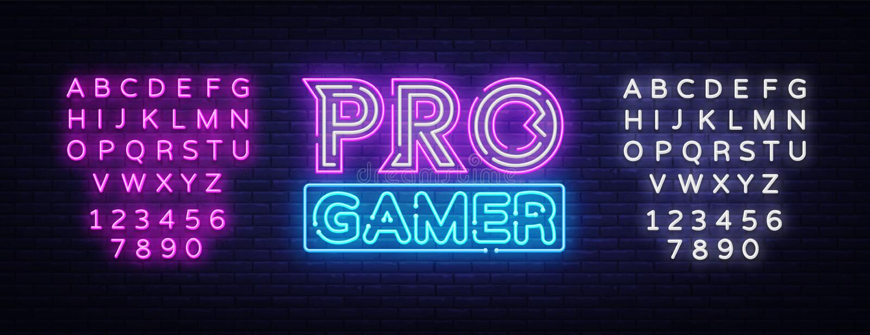 Pro vetor do sinal de néon do Gamer Molde de néon do projeto do jogo, bandeira clara, quadro indicador da noite, propaganda brilh ilustração do vetor