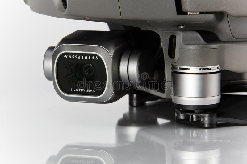 Pro zangão 2 de Mavic Close-up da câmera de Hasselblad tecnologia imagem de stock royalty free