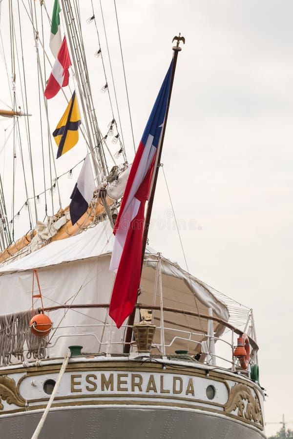 Proa do navio alto Esmeralda foto de stock