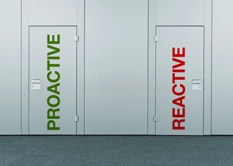 Proactive or reactive, concept of choice stock photo