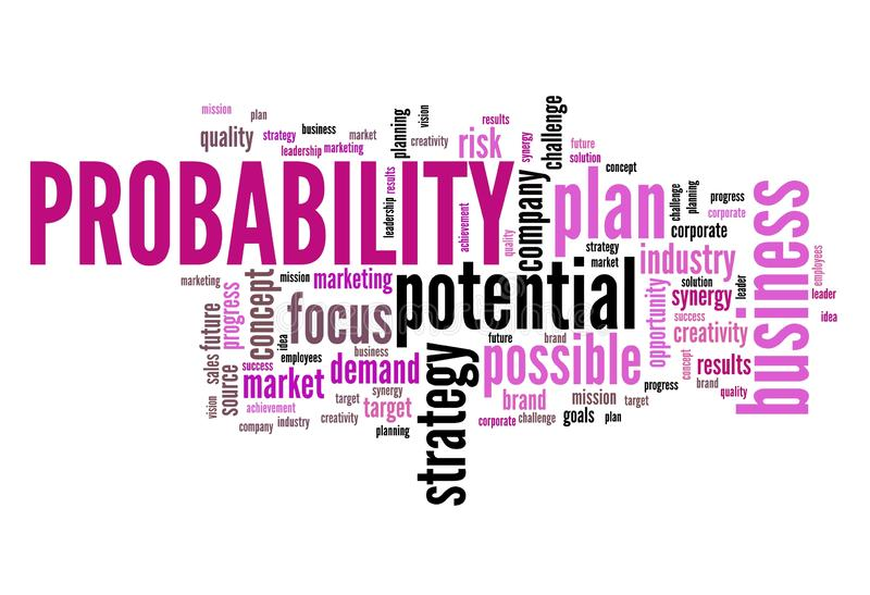 Probability in business. Decision making strategy word cloud sign vector illustration