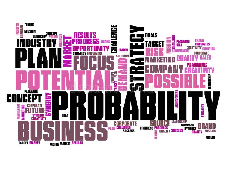 Probability. In business - decision making strategy word cloud sign vector illustration