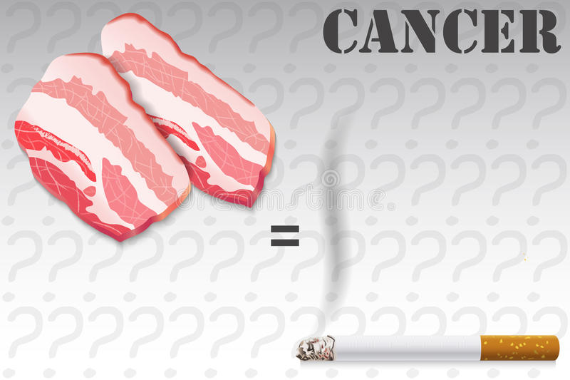 Probability of Cancer, Meat and Tobacco. Illustration of Probability of Cancer, Meat and Tobacco royalty free illustration