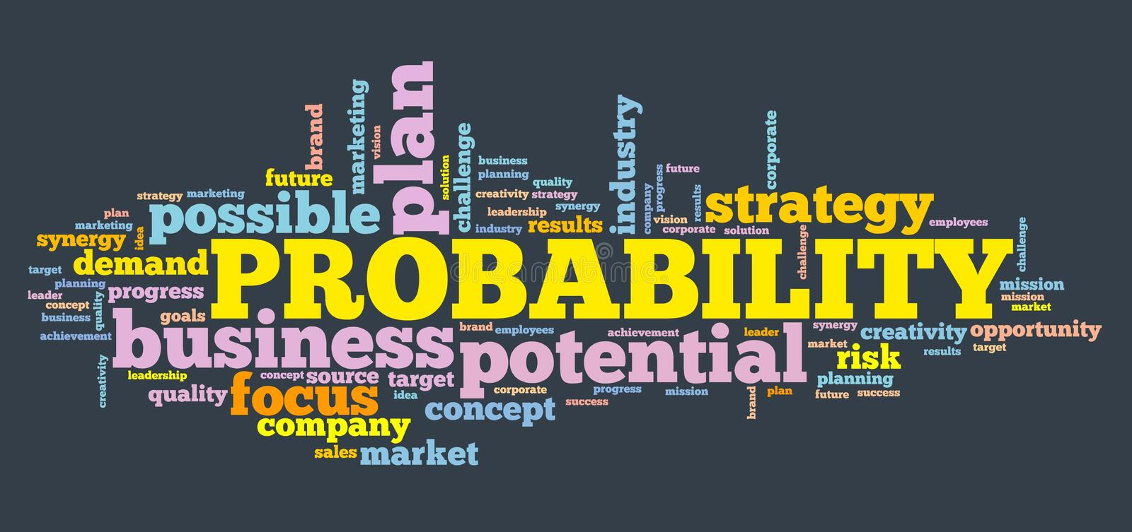 Probability and decisions. Probability - decision making strategy word cloud sign vector illustration