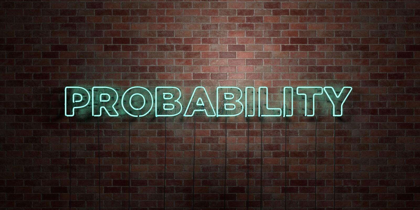 PROBABILITY - fluorescent Neon tube Sign on brickwork - Front view - 3D rendered royalty free stock picture. Can be used for online banner ads and direct vector illustration