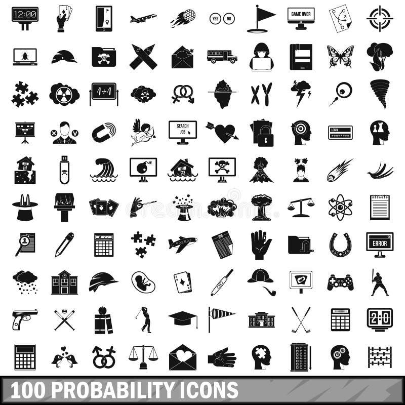 100 probability icons set, simple style. 100 probability icons set in simple style for any design vector illustration stock illustration