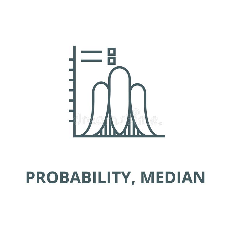 Probability, median  vector line icon, linear concept, outline sign, symbol. Probability, median  vector line icon, outline concept, linear sign stock illustration