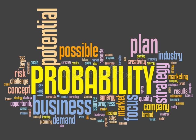 Probability. In business - decision making strategy word cloud sign royalty free illustration