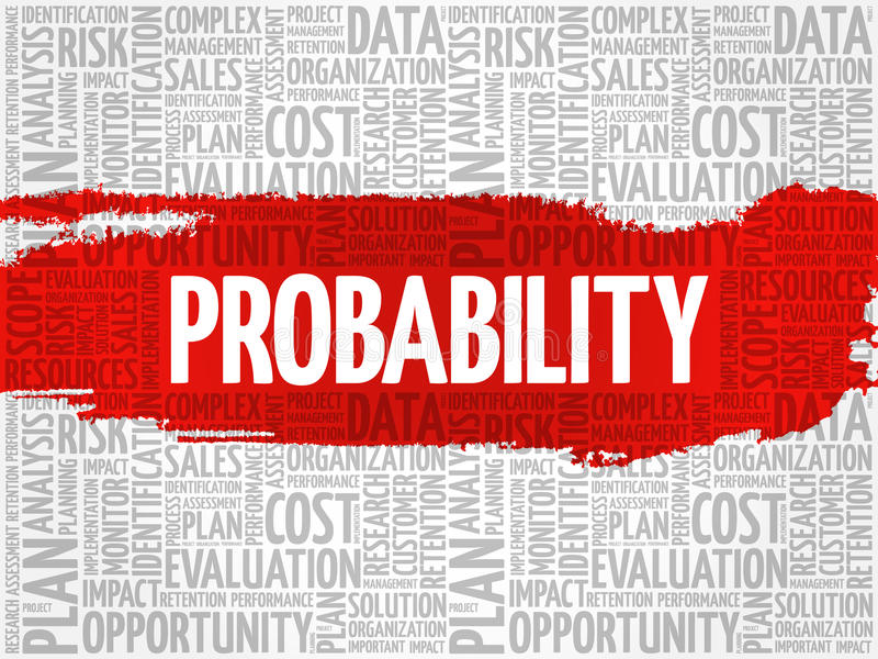 Probability word cloud. Business concept stock illustration
