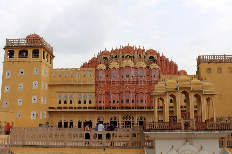 Probably this is how it feels when the royal ladies observe life. From Hawa Mahal. Taken in India, August 2018 royalty free stock photos