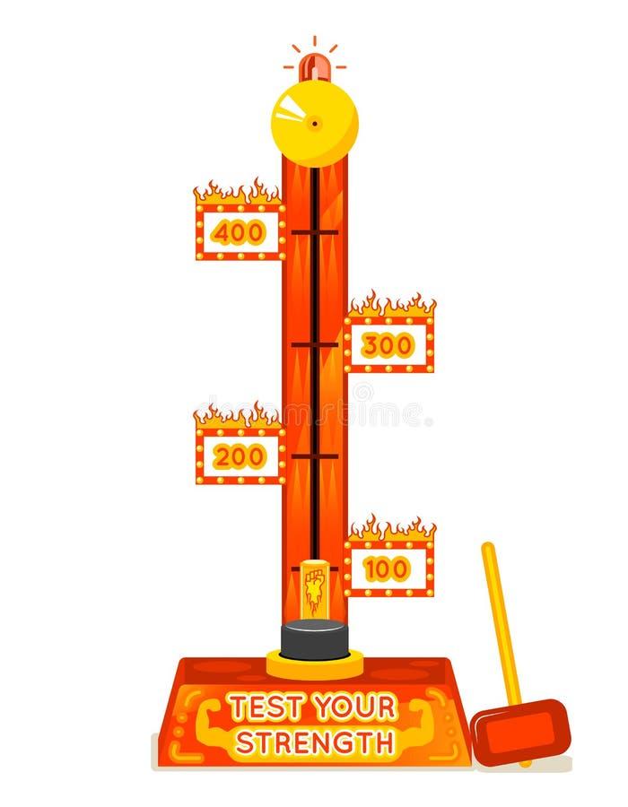 Probador de la fuerza Pruebe su juego de la diversión de la fuerza stock de ilustración