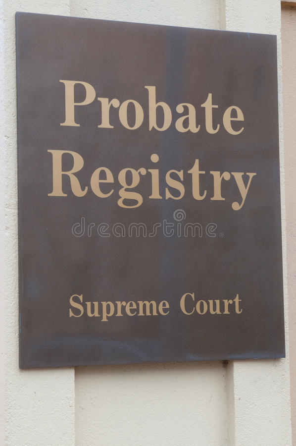Probate Registry. Sign on a building exterior royalty free stock image